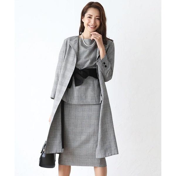 スカート コート ベルト セットアップ フォーマル スーツ 結婚式 ブラックフォーマル 喪服/クリーム(C.R.E.A.M)