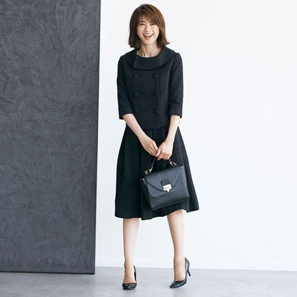 ツイード スカート ジャケット セットアップ フォーマル スーツ 結婚式 お呼ばれ ドレス/クリーム(C.R.E.A.M)