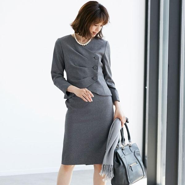 ジャケット スカート セットアップ フォーマル スーツ 結婚式 お呼ばれ ドレス /クリーム(C.R.E.A.M)
