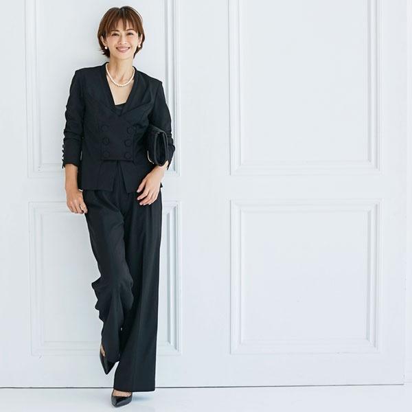 ロング パンツ ワイドパンツ セットアップ フォーマル スーツ ブラックフォーマル 喪服 結婚式/クリーム(C.R.E.A.M)