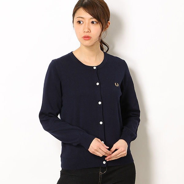 【19SS】TIPPED CREW NECK CARDIGAN/フレッドペリー(レディス)(FRED PERRY)
