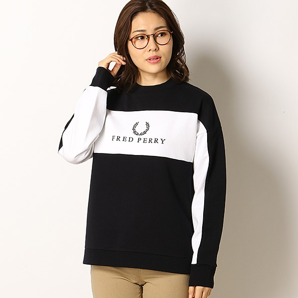 【19SS】PANEL EMBROIDERED SWEATSHIRT/フレッドペリー(レディス)(FRED PERRY)