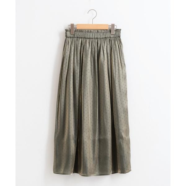 ドットジャガードギャザースカート/ペルルペッシュ(Perle Peche)