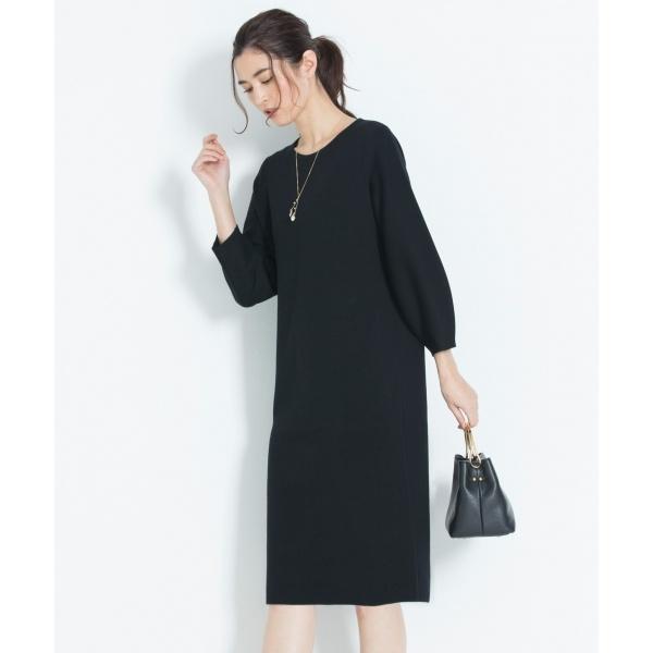 【洗える】DOUBLE CLOTH ニットワンピース/自由区 L(JIYUKU L)