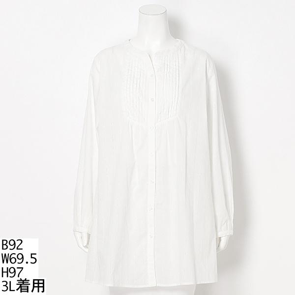 【大きいサイズ】【3L~5L】綿ローン刺しゅうチュニックブラウス/トロワドゥアン(TROIS DEUX UN)