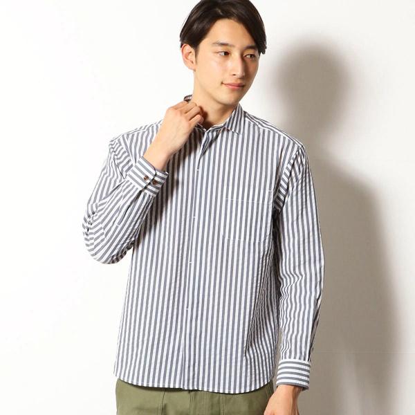 【クールマックス】 サッカーストライプ ホリゾンタルカラーシャツ/コムサコミューン(COMME CA COMMUNE)