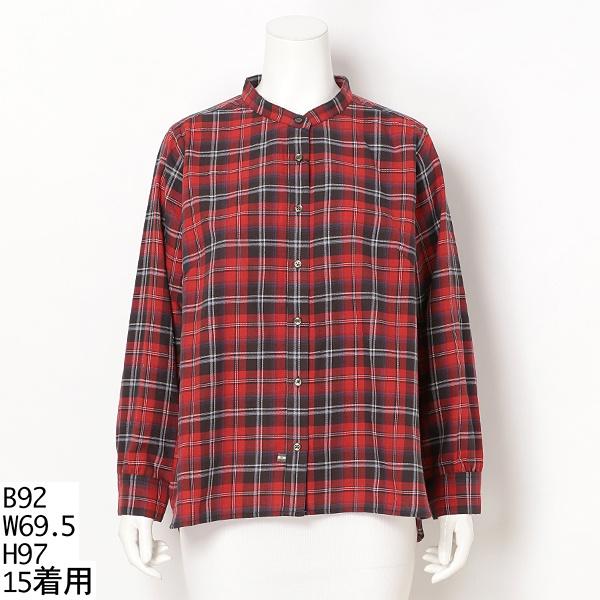 【15号・19号】スタンドカラーシャツ【大きいサイズレディース】/グリーンノート(大きいサイズ)(greennout)