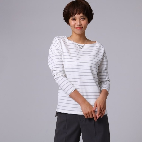 Lカットソ(【洗える】グログランリップルボーダー ロングTシャツ)/アンタイトル(UNTITLED)