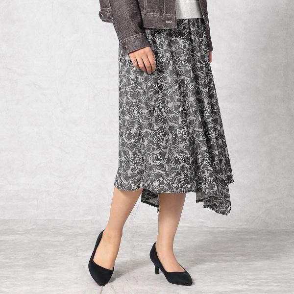 【オパール加工とプリントで花柄を表現】アシンメトリースカート/コムサマチュア(Comme ca Mature)