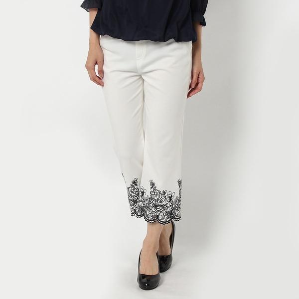 裾配色刺繍レギンスパンツ/ローズティアラ(Rose Tiara)