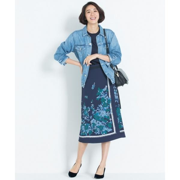 【洗える】SCARF PRINT スカート/自由区 L(JIYUKU L)