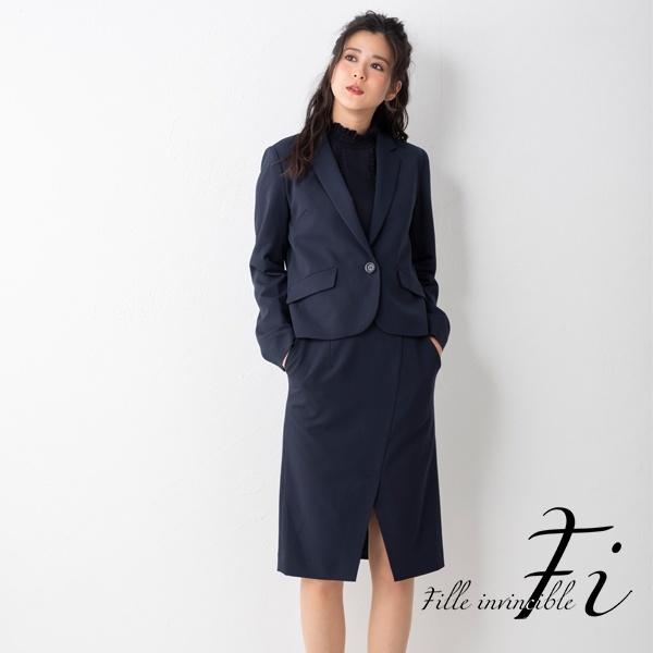 コンパクトジャケット×スリットスカートスーツ オフィス/通勤/カジュアル【M~LL】 /Fille invincible (ラブリークィーン)