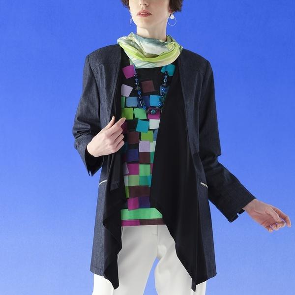 イタリア製デニム フレアー襟ジャケット 【大きいサイズ】/リリアンビューティー(Liliane Burty)