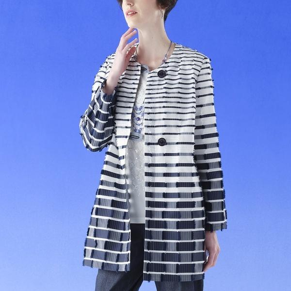 米沢織カットジャカードボーダー ノーカラージャケット 【大きいサイズ】/リリアンビューティー(Liliane Burty)