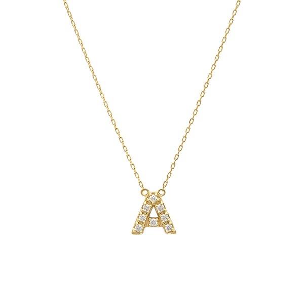 【WEB限定】K10 イエローゴールド ダイヤモンド イニシャル ネックレス(A)/エステール(ESTELLE)