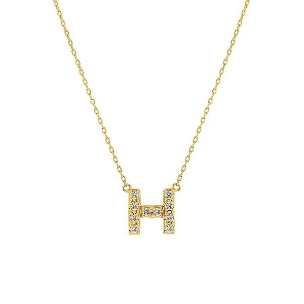 【WEB限定】K10 イエローゴールド ダイヤモンド イニシャル ネックレス(H)/エステール(ESTELLE)