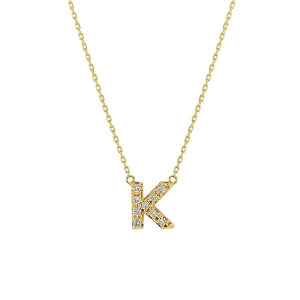 【WEB限定】K10 イエローゴールド ダイヤモンド イニシャル ネックレス(K)/エステール(ESTELLE)