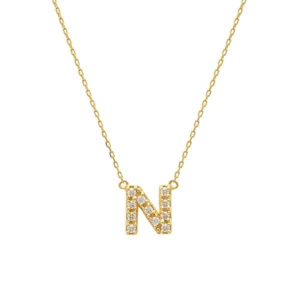 【WEB限定】K10 イエローゴールド ダイヤモンド イニシャル ネックレス(N)/エステール(ESTELLE)
