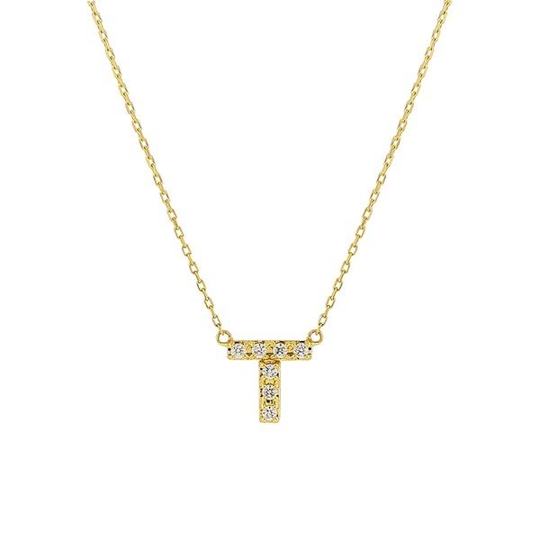 【WEB限定】K10 イエローゴールド ダイヤモンド イニシャル ネックレス(T)/エステール(ESTELLE)