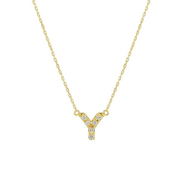 【WEB限定】K10 イエローゴールド ダイヤモンド イニシャル ネックレス(Y)/エステール(ESTELLE)