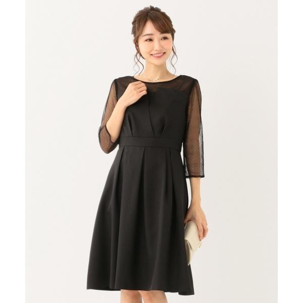 【洗える】ビスチェ風ドットチュール ドレス/エニィスィス Lサイズ(any SiS L)