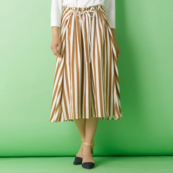 [大きいサイズ]バイヤスストライプ・フレアスカート[セットアップ対応]/ピサーノ(PISANO)