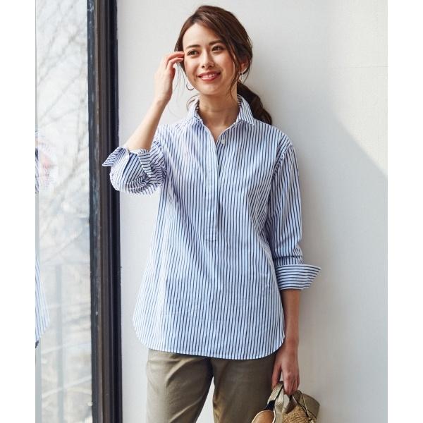 【マガジン掲載】CANCLINI ストライプチュニックシャツ(検索番号F33)/23区(NIJYUSANKU)