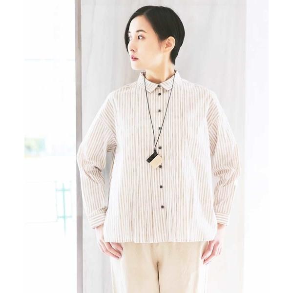 【手洗い】ストライプデザインシャツ/ジャンニ・ロ・ジュディチェ(GIANNI LO GIUDICE)
