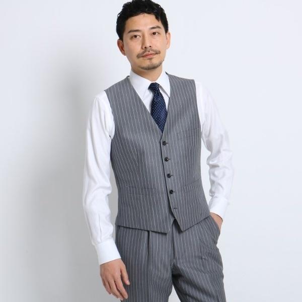 Mジャケッ(バンカーストライプベスト Fabric by Dormeuil[ メンズ スーツ ベスト 軽量 ストライプ ドーメ/タケオキクチ(TAKEO KIKUCHI)