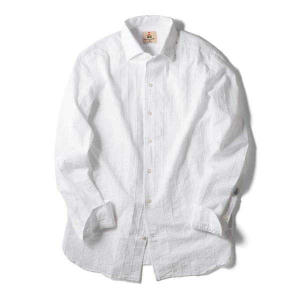 GUY ROVER: イタリアン ホワイト シアサッカー シャツ/シップス(メンズ)(SHIPS)