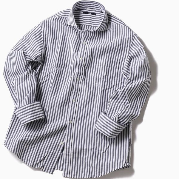 SC: レノクロス ストライプ セミワイドカラーシャツ/シップス(メンズ)(SHIPS)