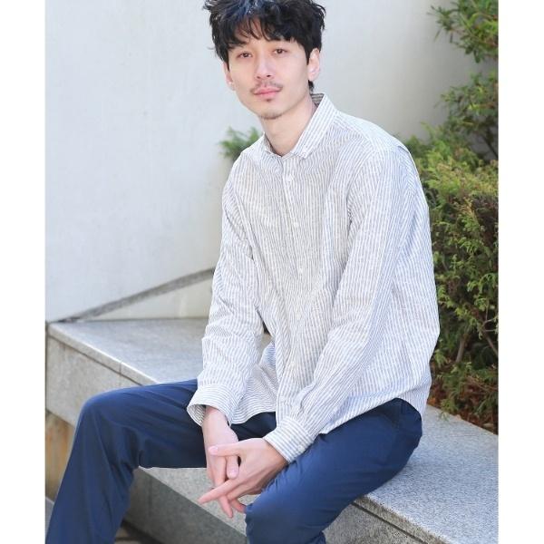 Mシャツ(シャドーリーフストライプシャツ[ メンズ トップス シャツ ボタンダウン ])/タケオキクチ(TAKEO KIKUCHI)