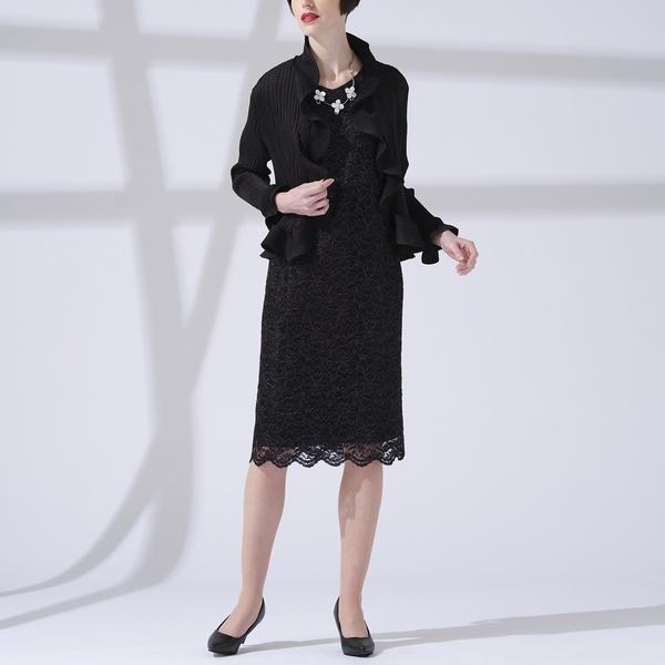 ラメ入りコードレース スカラップドレス 【大きいサイズ】/リリアンビューティー(Liliane Burty)
