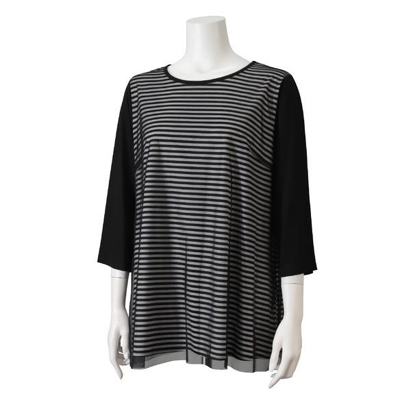 [L~3L]ボーダー×メッシュ切替Tシャツ/ピサーノ(PISANO)