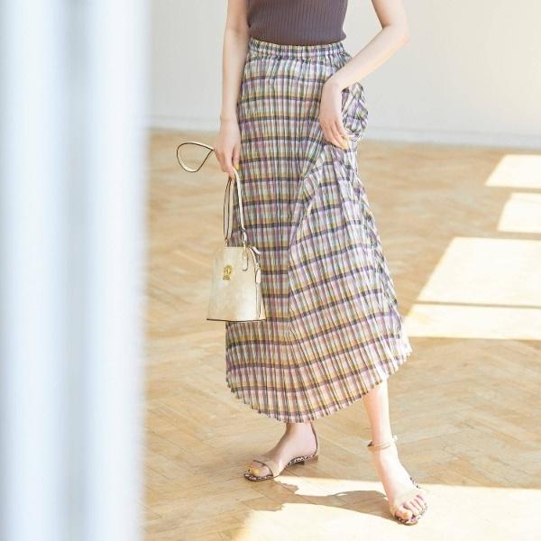 Lスカート(チェックプリーツスカート)/アクアガール(aquagirl)
