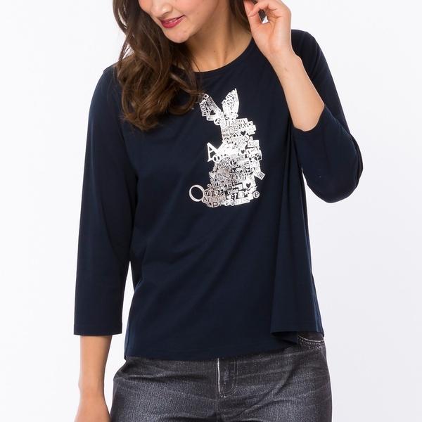[大きいサイズ]厚盛りラバープリントうさぎTシャツ/ピサーノ(PISANO)