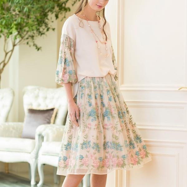 チュール刺繍フレアスカート/ローズティアラ(Rose Tiara)