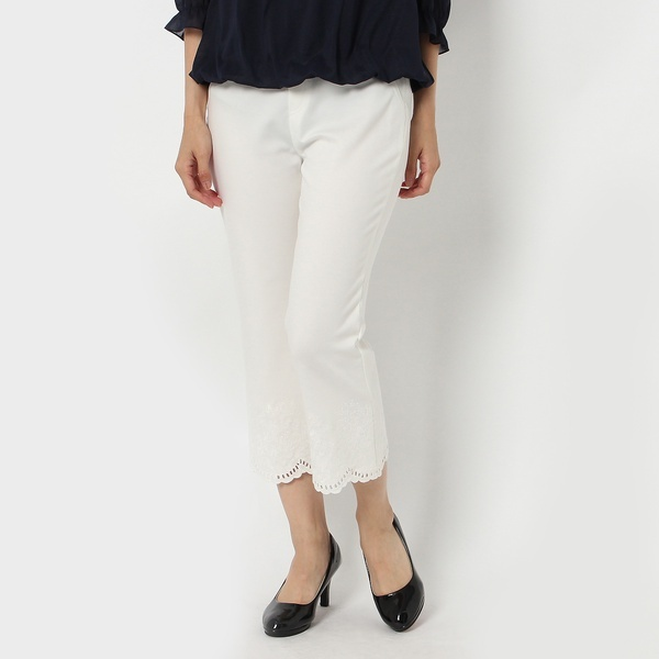 裾同色刺繍クロップドパンツ/ローズティアラ(Rose Tiara)