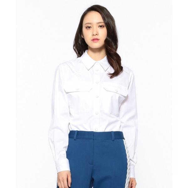 【2019SS インポート企画】ヘビーコットン刺繍 シャツ/カルバン・クライン ウィメン(Calvin Klein women)