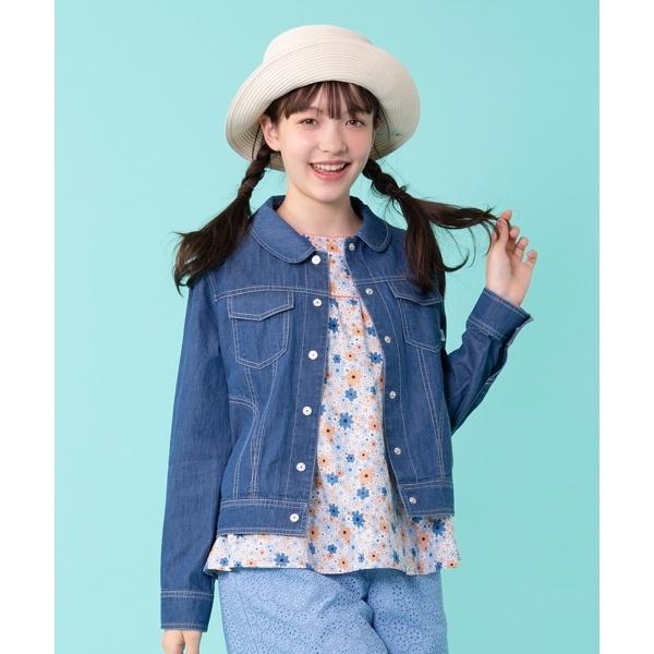 【150~160cm】花柄刺繍 デニムジャケット/組曲 キッズ(KUMIKYOKU KIDS)