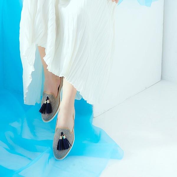 フリンジタッセルカジュアルスリッポンシューズ/ファウンテンブルー(Fountain Blue)
