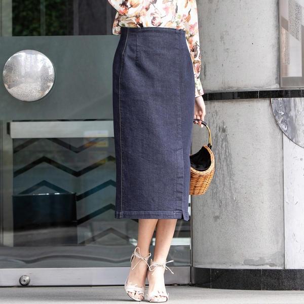 【洗濯機可】【3サイズ展開】デニムストレートスカート/ビアッジョブルー(Viaggio blu)