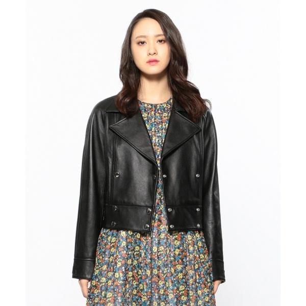 【2019SS インポート企画】ラムレザー ライダースジャケット/カルバン・クライン ウィメン(Calvin Klein women)