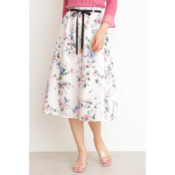 ファジーフラワープリントギャザースカート/プロポーションボディドレッシング(PROPORTION BODY DRESSING)