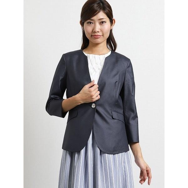 ボンフォルト セットアップノーカラー7分袖ジャケット 紺/m.f.エディトリアル(m.f.editorial)
