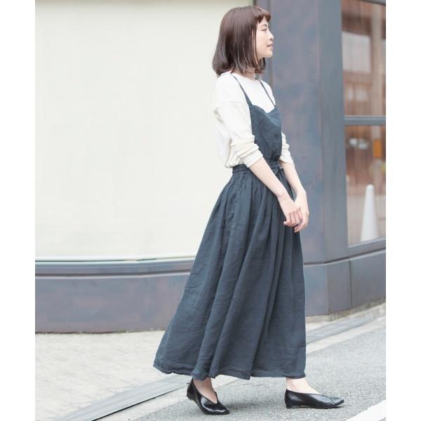レディススカート(tumugu: リネンキャンバスエプロンスカート)/かぐれ(kagure)