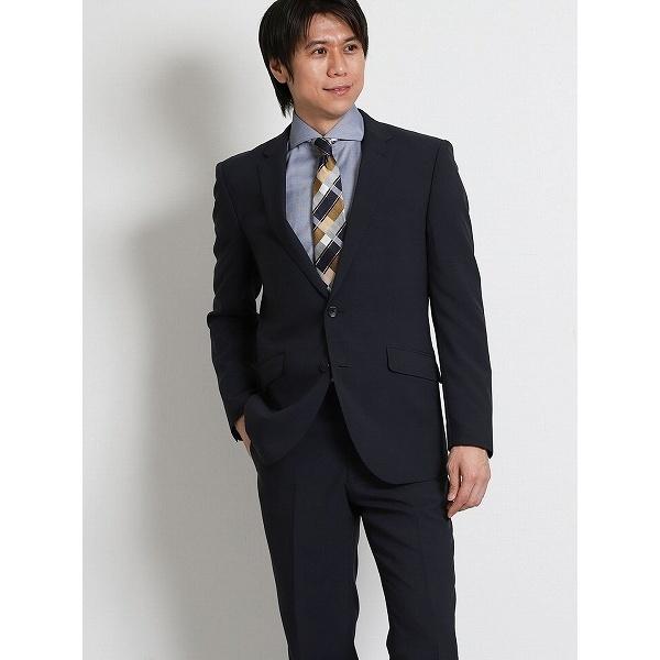 シャドーチェック紺 2ピースレギュラースーツ/タカキュー(TAKA-Q)