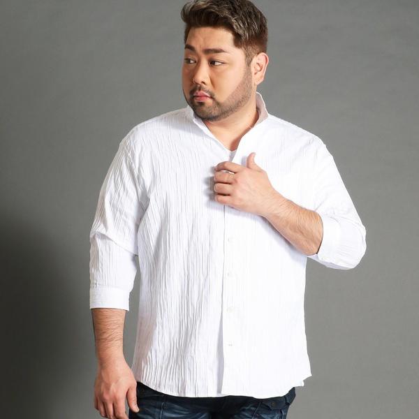 <大きいサイズ>市松柄イタリアンカラー7分袖シャツ/ハイダウェイ(大きいサイズ)(HIDEAWAYS)