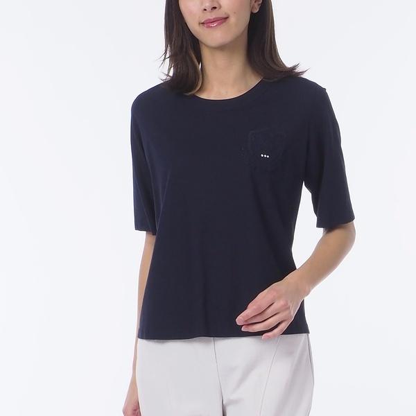 綿100% LBエンブレム刺繍入りTシャツ【大きいサイズ】/リリアンビューティー(Liliane Burty)