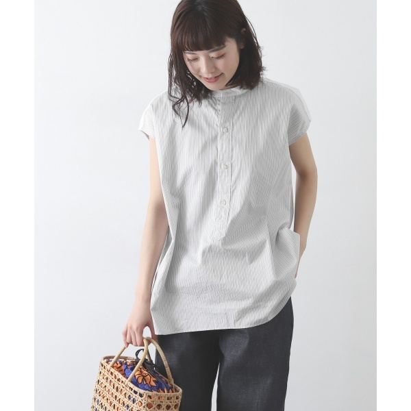 レディスシャツ(Le GLAZIK dobby stripe sleeveless)/かぐれ(kagure)
